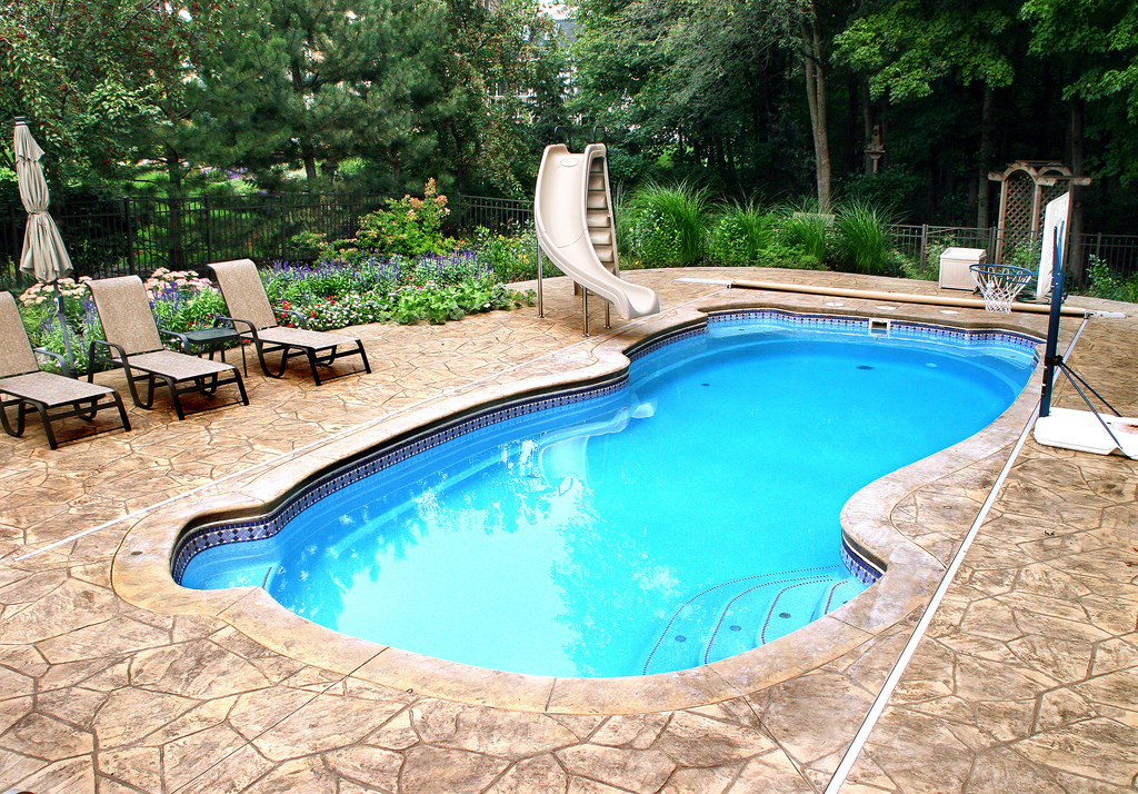 Image of Residential In-ground Fiberglass Pool With Pool Accessories in Ontario